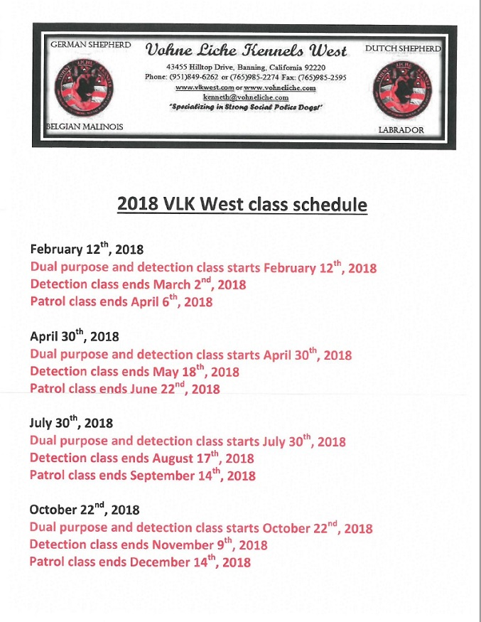 2018 Combined Schedule for VLK